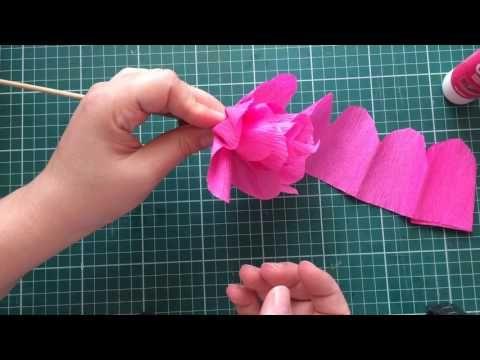 Flor de papel crepom FÁCIL - YouTube