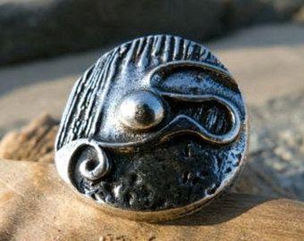 Bague ronde texturée, celtique et fantasy Alchimy BOULE argent vieilli