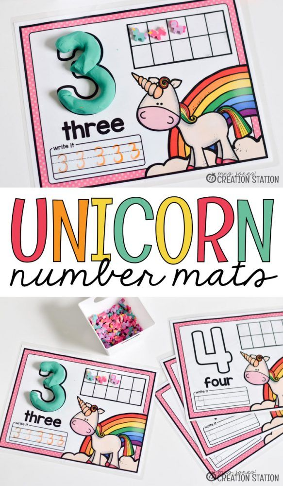 Number sense math games help learners write numbers and count to 10 using a ten frame.  This unicorn math activity is great for preschool and kindergarten classrooms.