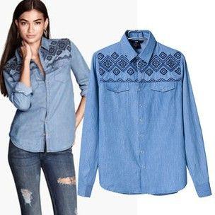 2014 осень новый дизайн Урожай Синие джинсы Повседневная рубашка Длинные рукава Свободные топы 100% вышивки хлопка джинсовой блузку