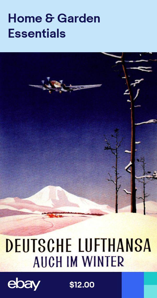 German Travel Poster.Fine Graphic Art Design.Lufthansa.Aviation Wall Art.640