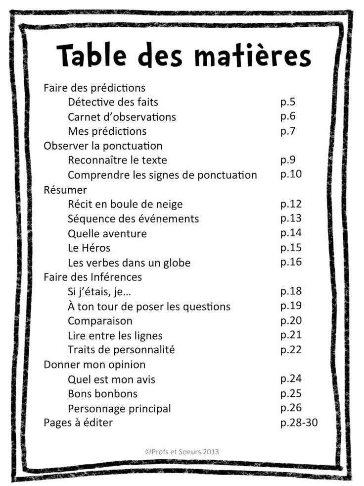 Table des matières: stratégies de compréhension