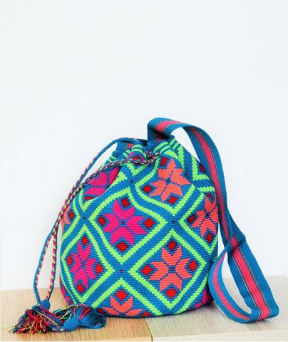 azul patrón multicolor bolsa mochila wayuu