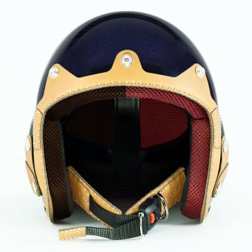 [[BIVID 헤어프로텍터] 수제 오토바이 헬멧 / 오픈페이스 (Pearl Navy+Lite Brown)]