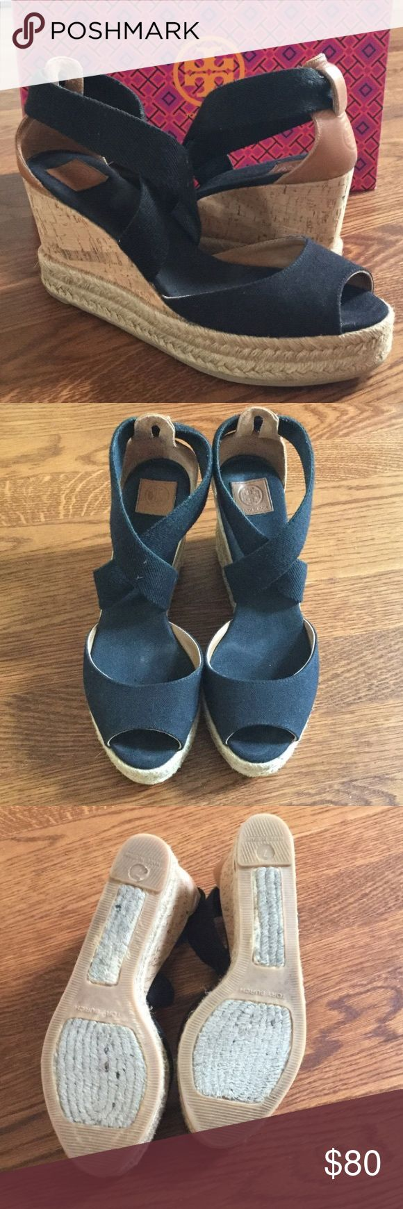 Tory Burch black espadrille wedges EUC espadrille wedges. Black. Tory Burch Shoes Espadrilles