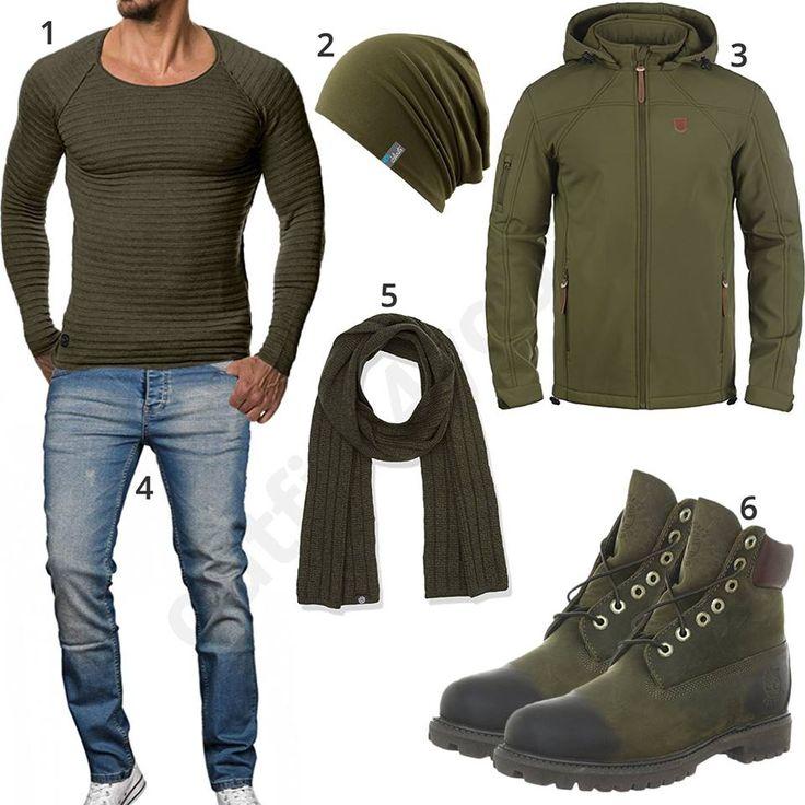 Olivgrünes Herren-Outfit mit engem EightyFive Pullover, chillout Beanie, Indicode Übergangsjacke, A. Salvarini Jeans, bugatti Schal und Timberland 6 Inch Boots. #outfit #style #herrenmode #männermode #fashion #menswear #herren #männer #mode #menstyle #mensfashion #menswear #inspiration #cloth #ootd #herrenoutfit #männeroutfit