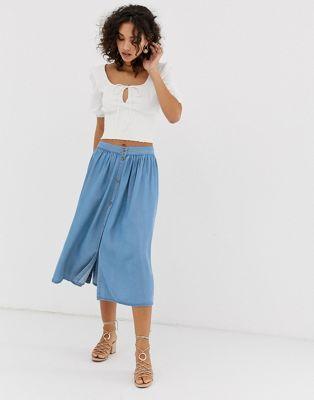 f6221f1e3 Vero Moda button front midi skirt in 2019 | Skirts | Midi skirt ...