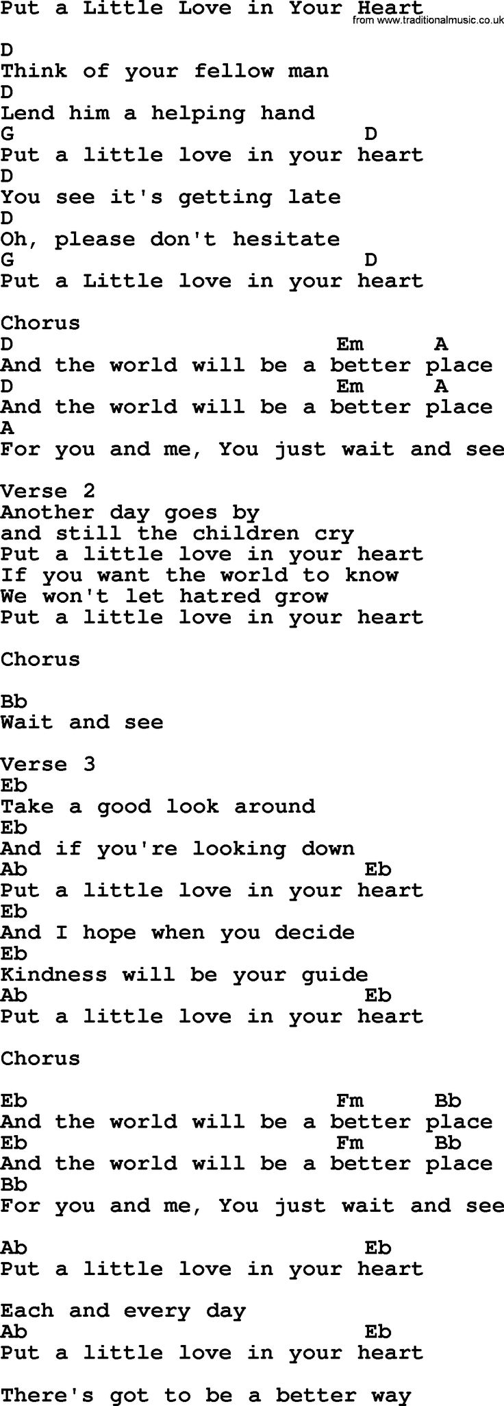 Best 25 lyrics and chords ideas on pinterest song lyrics and dolly parton song put a little love in your heart lyrics and chords hexwebz Images