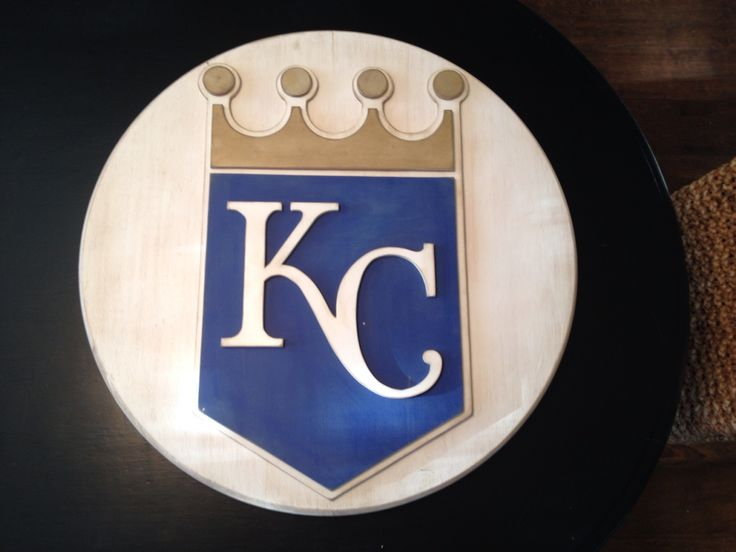 Kansas City Royals 3-D logo. 3-D wood sign. KC royals wall decor. Hand made by Kate Hall