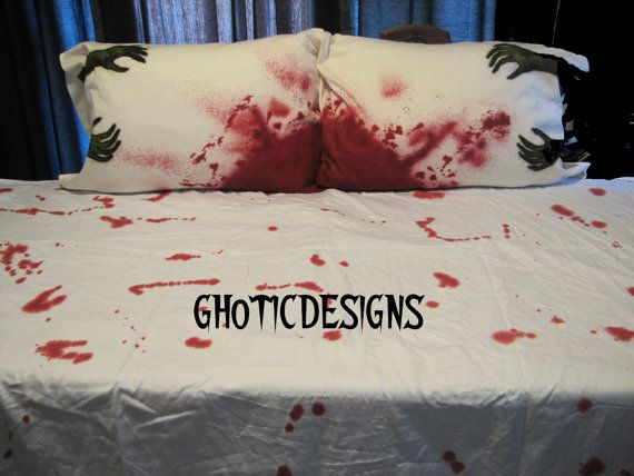 Halloween Zombie SHEETS SET QUEEN Size With A Pair Of