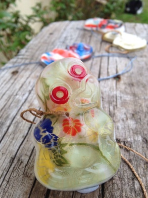 Resin Hei tiki with gorgeous Japanese washi paper