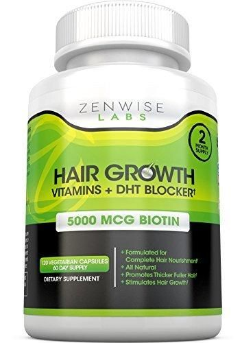 Hair Growth Vitamins Supplement - 5000 mcg Biotin & DHT Blocker Hair Loss Treatment for Men & Women - 2 Month Supply With Vitamin A & E to Stimulate Faster Regrowth  Care for Damaged Hair - 120 Pills