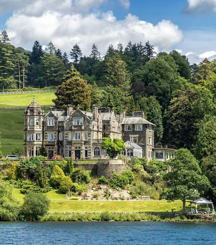 Langdale Chase Hotel, Windermere, English Lake District.  britainandbritishness.com/LakeDistrict  Built in 1890 for a Manchester businessman, it became a hotel in 1930. Taking five years to complete, it was originally intended as 'a small retreat' and was the first house in the area to have electricity.