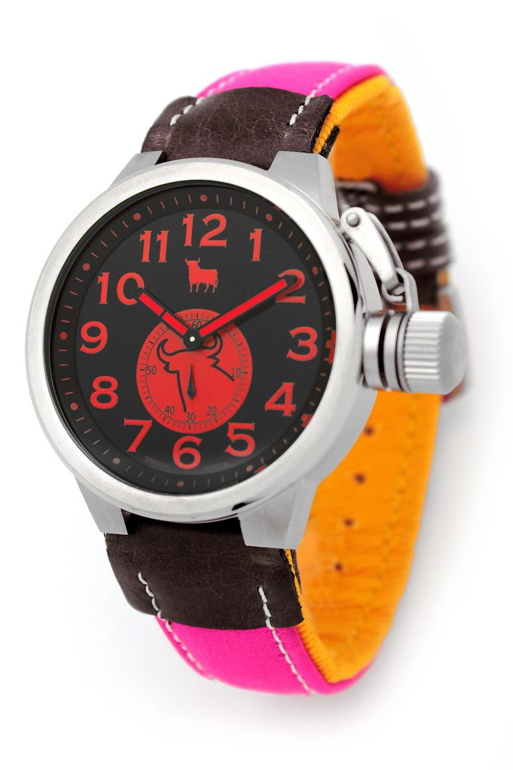 #Reloj Toro #Watch - Modelo TO-1227-1 Colección Urraco-Taurino - Reloj con esfera negra de 46 mm de diámetro con caja de acero quirúrjico y correa de auténtica tela de capote. Movimiento citizen-miyota, solo tempo, WR 5 ATM. Garantía de dos años - Tienda Oficial Online #Espana #moda