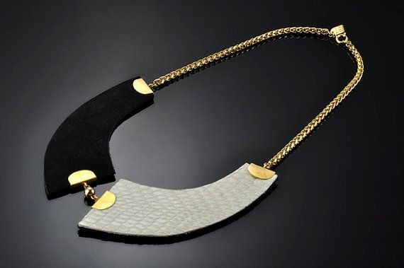 Collar, Egyptian collar,Leather necklace,Geometrical, Classic necklace, Black and White necklace on Etsy, $55.00