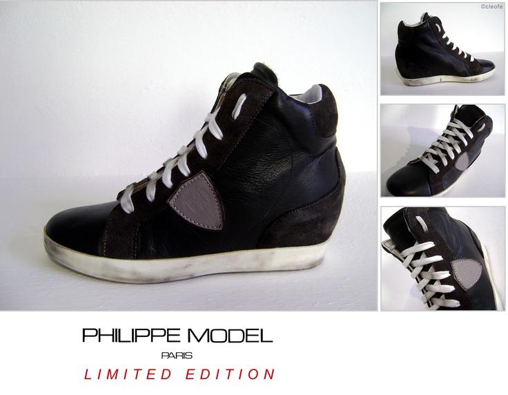 Scarpe Sneaker PHILIPPE MODEL LIMITED EDITION con Zeppa Interna  Modello Pelle Grigio