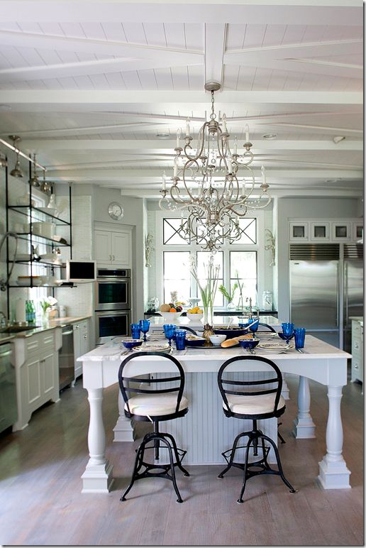 Notice the ceiling – X beams over planks.  The X mimics the windows. Kitchen of the Weeks who created Aidan Gray.: Dreams Kitchens, Open Shelves, Kitchens Ideas, Cote De Texas, Kitchens Islands, Bar Stools, Aidan Gray, Gray Houses, White Kitchens