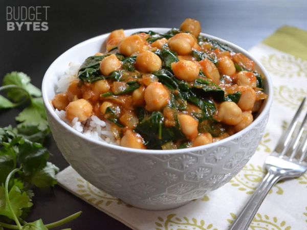 Curried Chick Peas with Spinach