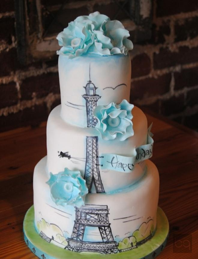 Paris Dream Cake. Love the balance of the flat stenciling with 3 dimensional flowers and banner.