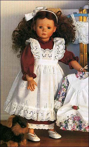 Одежда куклы - платье, фартук, нижняя юбка - http://www.dollplanet.ru/odezhda_dlya_kukol/komplekt_odezhdy_dlya_kukly_plate_yubka_i_fartuk_d7/
