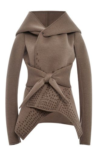 Wool and Angora Fused Neoprene Hooded Tie Peacoat by Rick Owens Lilies Now Available on Moda Operandi