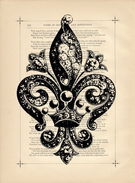 *Victorian Fleur De Lis Flower Vintage Art Print Mixed Media Dictionary book Print French Country Flea Market: