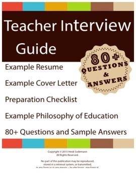 Elementary Teacher Interview Preparation Guide. 80+ Questions and Sample Answers.This is a guide to prepare you to get the teaching job that you want and deserve.  Using this guide you will impress the interview committee with your knowledgeable and carefully thought-out answers to the questions they are going to ask you.