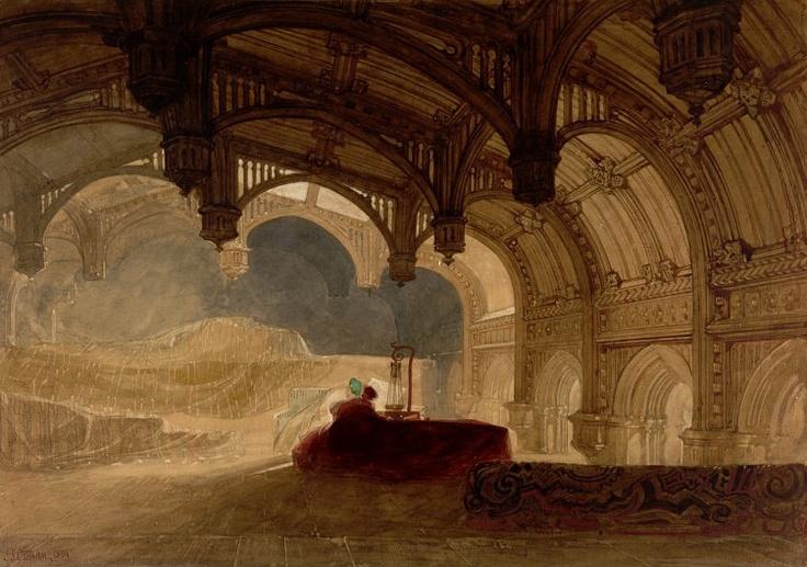 1831 Interior of Crosby Hall, Bishopsgate   watercolour