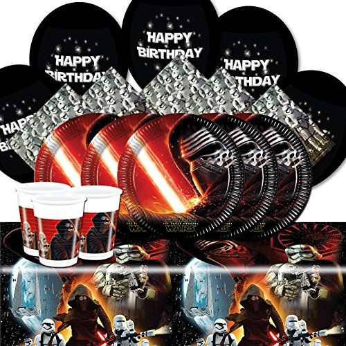 From 9.71 Official Star Wars Classic Force Awakens Complete Party Supplies Kit For 8 With Balloons Cups Plates Napkins Table Cover