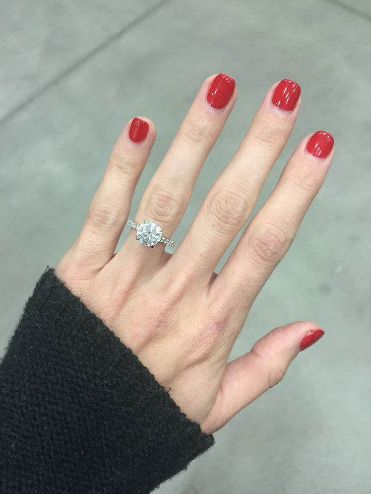 Engagement Ring Simple brilliant round 2 carat solitaire with pave band