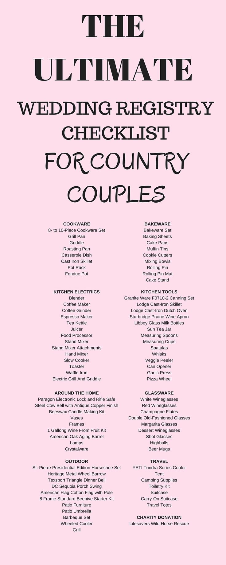 Best 25 wedding registry checklist ideas on pinterest wedding ultimate wedding registry checklist for country couples junglespirit Images