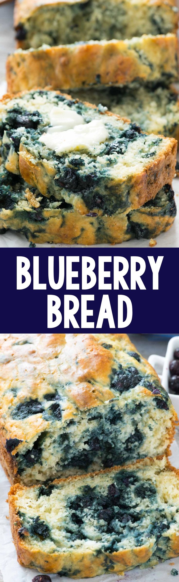 Blueberry Quick Bread - this easy bread recipe is full of blueberries and has less added sugar! It's the perfect breakfast; like a blueberry muffin but bread! #sweetswaps #splendasweeties #ad