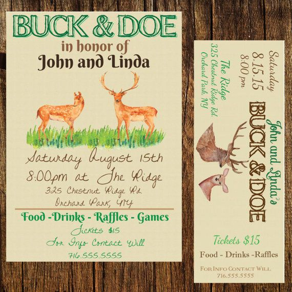Buck and Doe - Stag and Doe - Jack and Jill. Tickets and event poster combo. Digital, DIY, Print. Event tickets