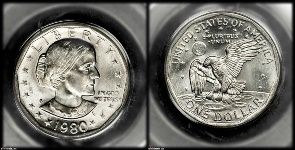 Coin collecting. Susan b anthony dollars. Average worth $1.30