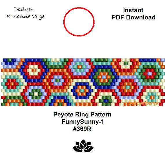 DETAILS: 1. FunnySunny-1 #369R - endless pattern 2. FunnySunny-2 #369R - adjustable ring length Peyote ring pattern - even count Sizes: 1. 1,9 cm x 6,55 cm / 0.74 x 2.58 (1) 2. 1,9 cm x 7,1 cm / 0.74 x 2.79 - (2) Beads: Miyuki Delica 11/0 >>>>>>>>>>>>> Coupons-codes: <<<<<<<<<<< 10%