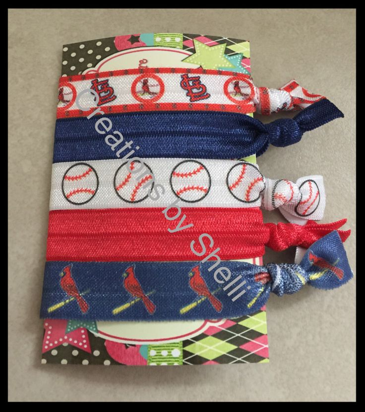 A personal favorite from my Etsy shop https://www.etsy.com/listing/496752293/st-louis-cardinals-baseball-hair-ties
