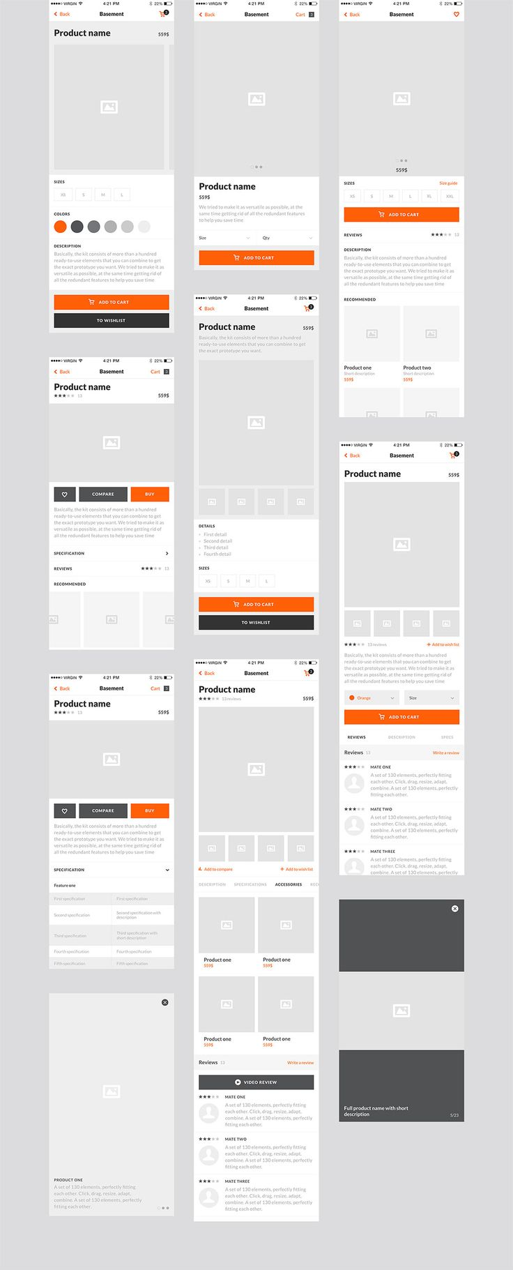 The Basement iOS Ecommerce UI Kit is a wireframe kit that is an ideal tool for app design prototyping; or for prototyping a mobile version of an existing Ecommerce website. The kit consists of 50 ready-to-use, well organized, and 100% customizable screens for iPhone 6. It is designed to be used with Adobe Photoshop CS56+ …