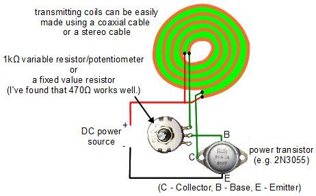 Wireless electricity transmitter circuit diagram which is really a joule thief…