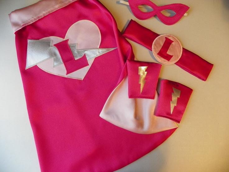 Deluxe Super Hero Cape set superhero princess cape mask cuffs and belt.