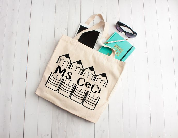 Pencil Monogram, personalized book bags, teacher appreciation gifts, Custom tote bags, unique teachers gift ideas, cotton book bag by Pretty Party Favors, $8.00 USD
