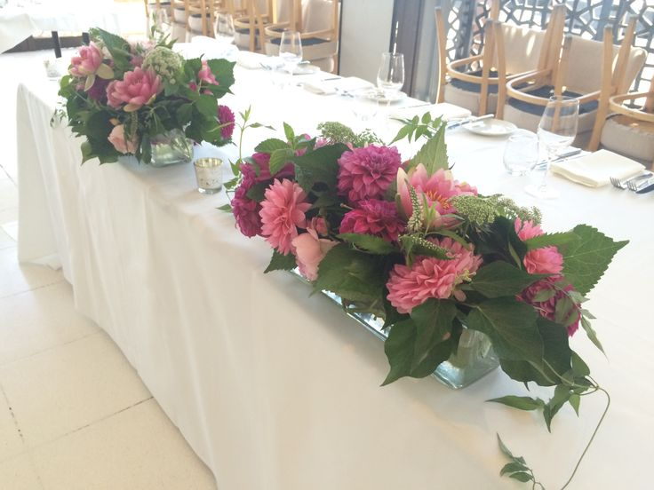 Long tank vases for the bridal (ignore the colours)  | By Flower Jar