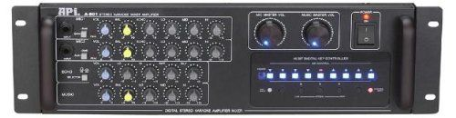 API A-801 600W Professional Karaoke AV Mixing Amplifier. A-801 Professional AV Karaoke Mixing Amplifier offers flexibility and power to make it perfect for a wide variety of applications. The A-801 powerful 300W + 300W capabilities can easily drive 2 pairs of speakers. At the same time, it is powerful enough for any party or restaurant. For music enthusiast, they can expect a crisp and quality sound from this amplifier. This tightly quality-controlled API A-801 uses state-of-the-art...