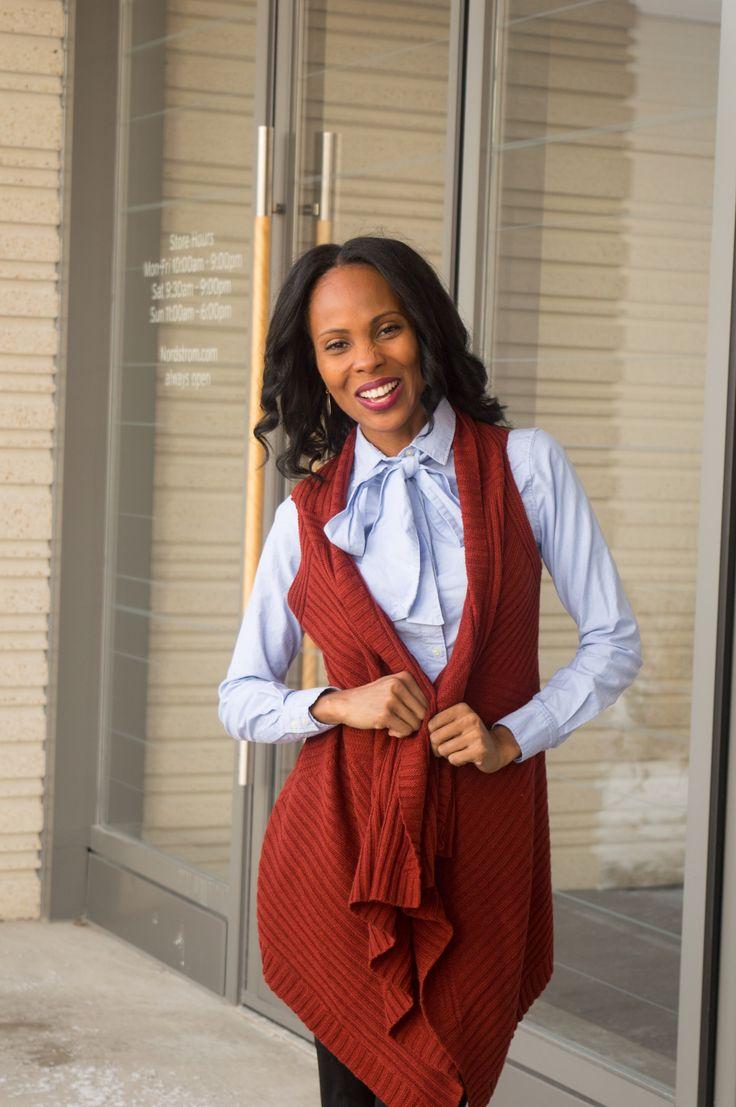 Bow blouse/layering/sweater vest/ jcrew/ work wear