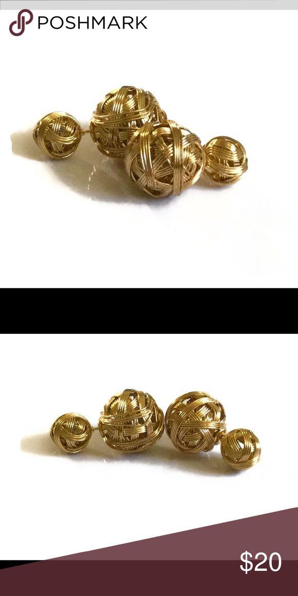 Gold double all stud earrings Cute double ball earrings made of 14k yellow gold filled. nejd Jewelry Earrings