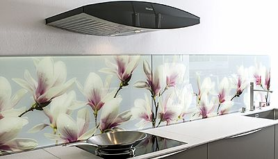 Bedruckte Glasrückwand, gesehen bei PLANA Küchenland in Darmstadt-Weiterstadt