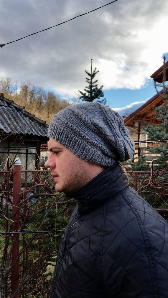 Check out this item in my Etsy shop https://www.etsy.com/listing/179308332/men-knit-grey-slouchy-hat-winter