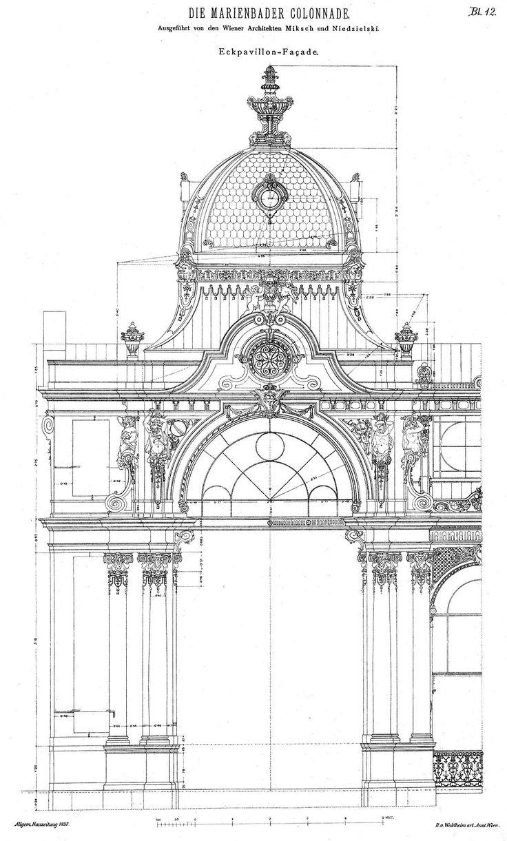 Design for a corner pavilion of the Colonnade, Marienbad / Ausgefuhrt von den Wiener / Architekten Miksch und Niedzielski