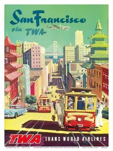 San Francisco California via TWA (Trans World Airlines) – Cable Cars