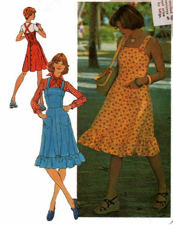 Vintage 70s Sewing Pattern Simplicity 6926 Retro Back Buttoned Jumper and Sundress Pattern with Criss Cross Back Size 14 Bust 36
