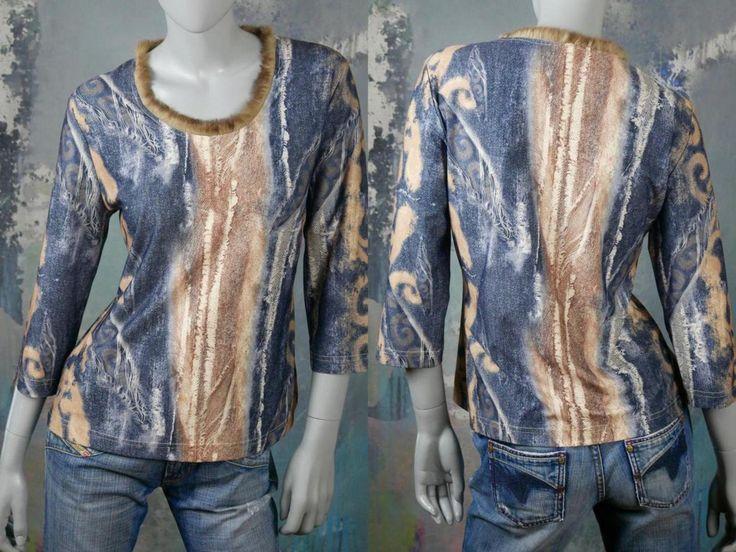 1990s Abstract Top w Fur Trimmed Neckline, Denim Look Blue Tan & Beige Casual Funky Pullover Blouse: Size 10 US, 14 UK
